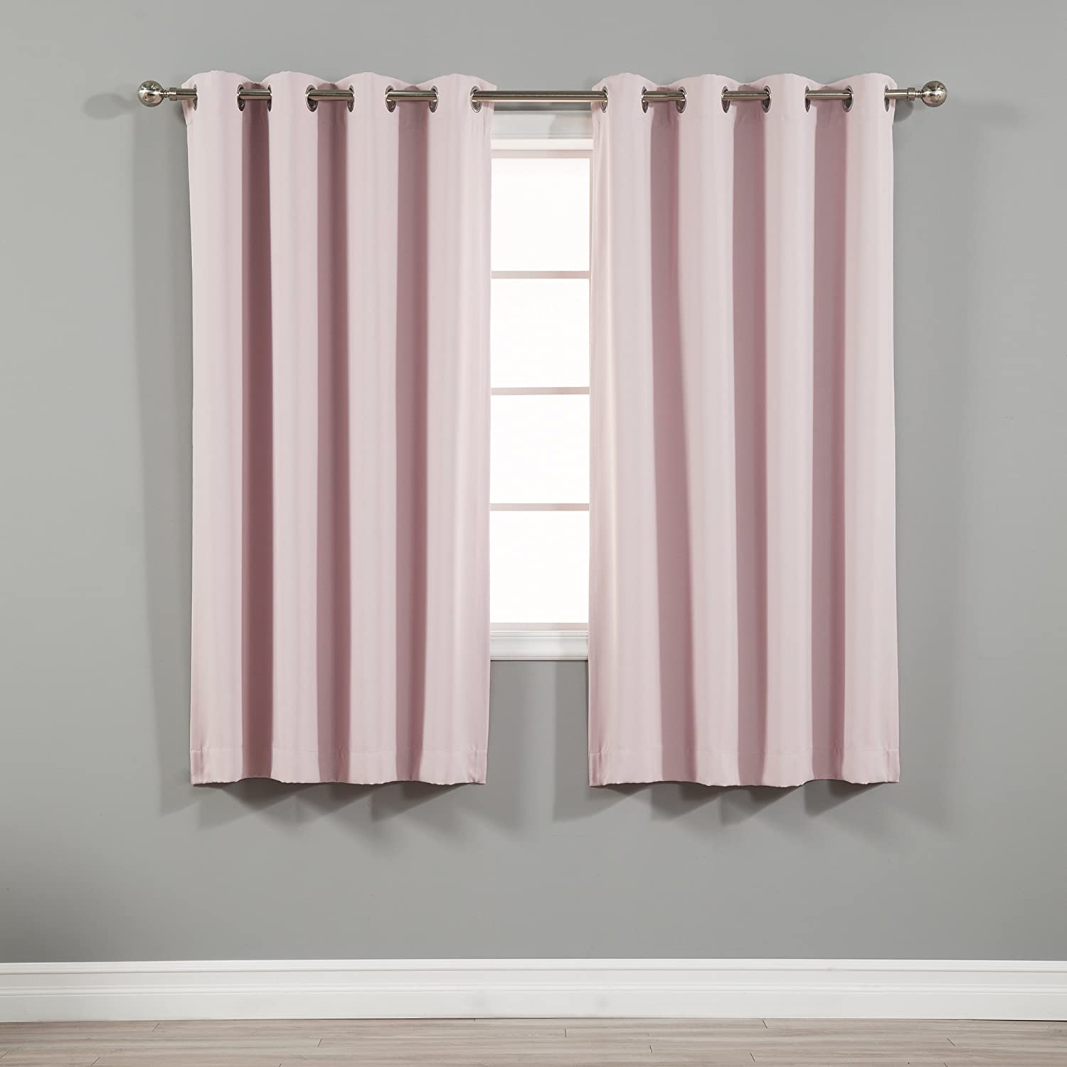 Best Home Fashion Thermal Insulated Blackout Curtains - Stainless Steel Nickel Grommet Top - Light Pink - 52