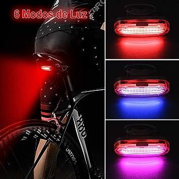 HASAGEI Luces Traseras LED Bicicleta Luz Trasera para Bicicleta USB Recargable Super Brillante Rojo Azul Rosa 6 Modos: Amazon.es: Deportes y aire libre