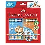 Lápis de Cor, Faber-Castell, EcoLápis Bicolor, 120624G, 24 Lápis/48 Cores + 2 Lápis N°2