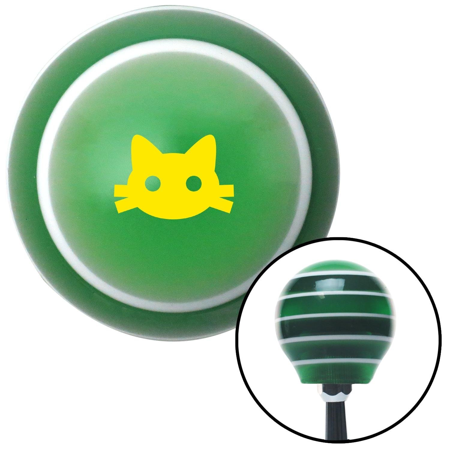 Yellow Cat Silhouette 2 Green Stripe with M16 x 1.5 Insert American Shifter 274749 Shift Knob