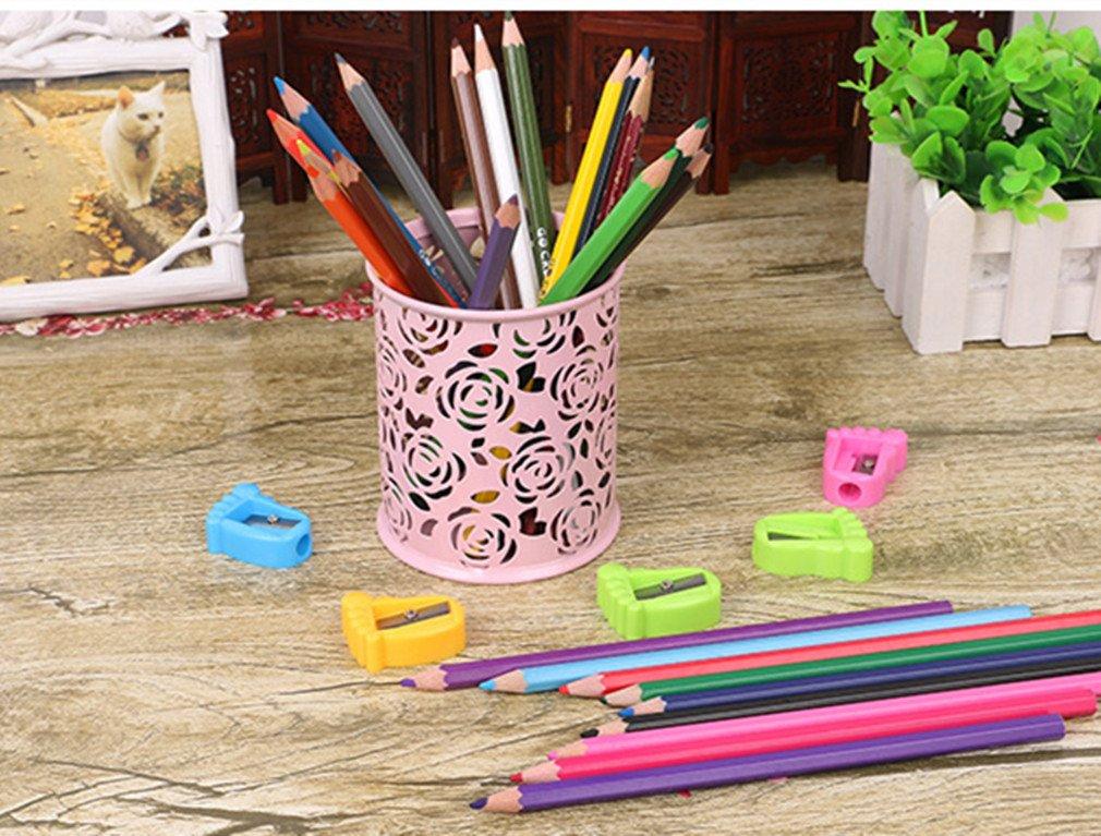 organizador de escritorio oficina color rosa claro 9.6 * 8cm soporte de papeler/ía para escuela casa MSYOU rosa claro Portal/ápices de metal hueco