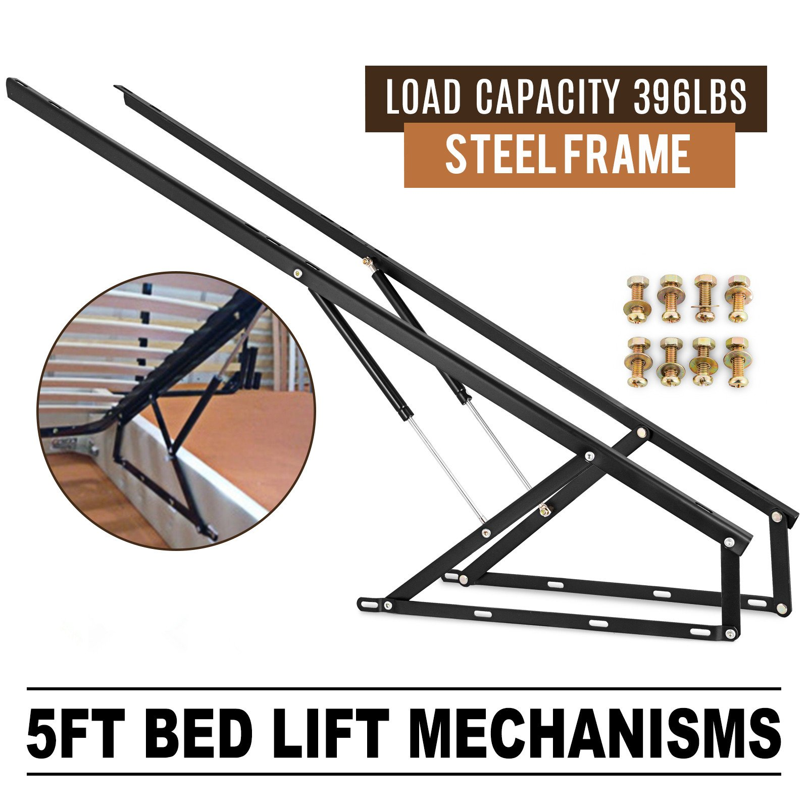 Happybuy Pair of 5FT Pneumatic Storage Bed Lift Mechanism Heavy Duty Gas Spring Bed Storage Lift Kit for Box Bed Sofa Storage Space Saving DIY Project Lifter Lift Up Hardware Black (B150) by Happybuy (Image #2)