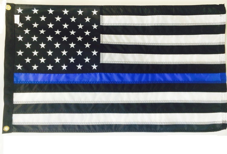 4 x 6 ft – delgada línea azul de policía americano bandera (cosido rayas) impreso estrellas SolarMax Nylon WindStrong cabecera, acabado negro esquinas reforzadas, fabricado en Estados Unidos: Amazon.es: Jardín