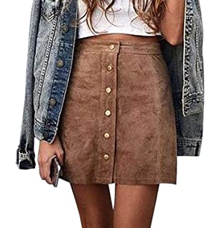 26566ef610d1 Rela Bota Women s Junior High Waist Faux Suede Button Closure Plain A-line  Mini Short