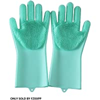 Dishwashing Gloves Silicone Scrubbing Gloves with Long Soft Bristles Heat Resistant Reusable Brush Used to Wash Dishes…