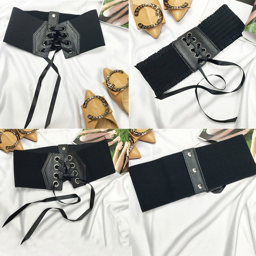 7a15afcfe7 Sharplace 2pc Women PU Leather Waist Belt Cincher Corset Wide Band Elastic  Tied Waspie  Amazon.co.uk  Clothing