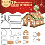 (Set of 10) Gingerbread House Cookie Cutter Set, Bake Your Own Small Christmas House Kit, Chocolate House, Haunted House, Gif