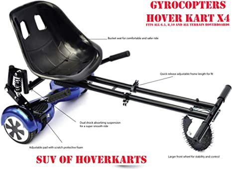 E T Hoverkart Self Balancing Go Cart Hovercart with Si/ège Hover Kart Compatible with 6.5 10 Balancing Boards /électrique Scooter 8