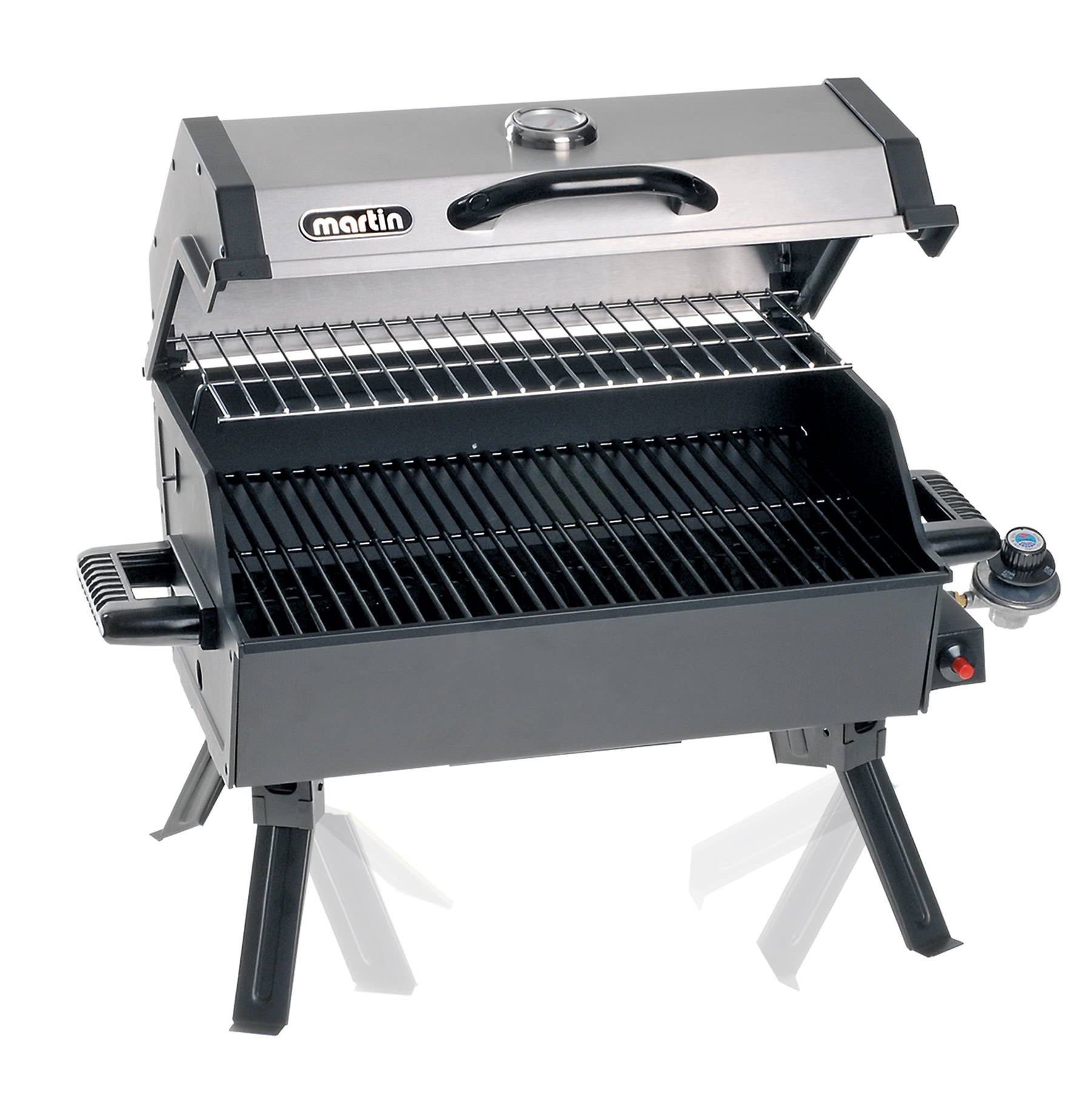 Martin Portable Propane BBQ Gas Grill 14,000 Btu Porcelain Grid with Support Legs and Grease Pan by Martin