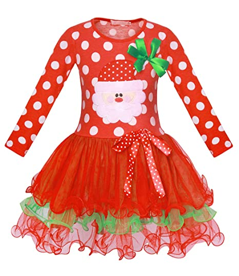 Cotrio Christmas Costume Outfits Little Girls Santa Party Dresses Toddler  Long Sleeve Xmas Tutu Dress Up - Amazon.com: Cotrio Little Girls Christmas Costume Santa Party