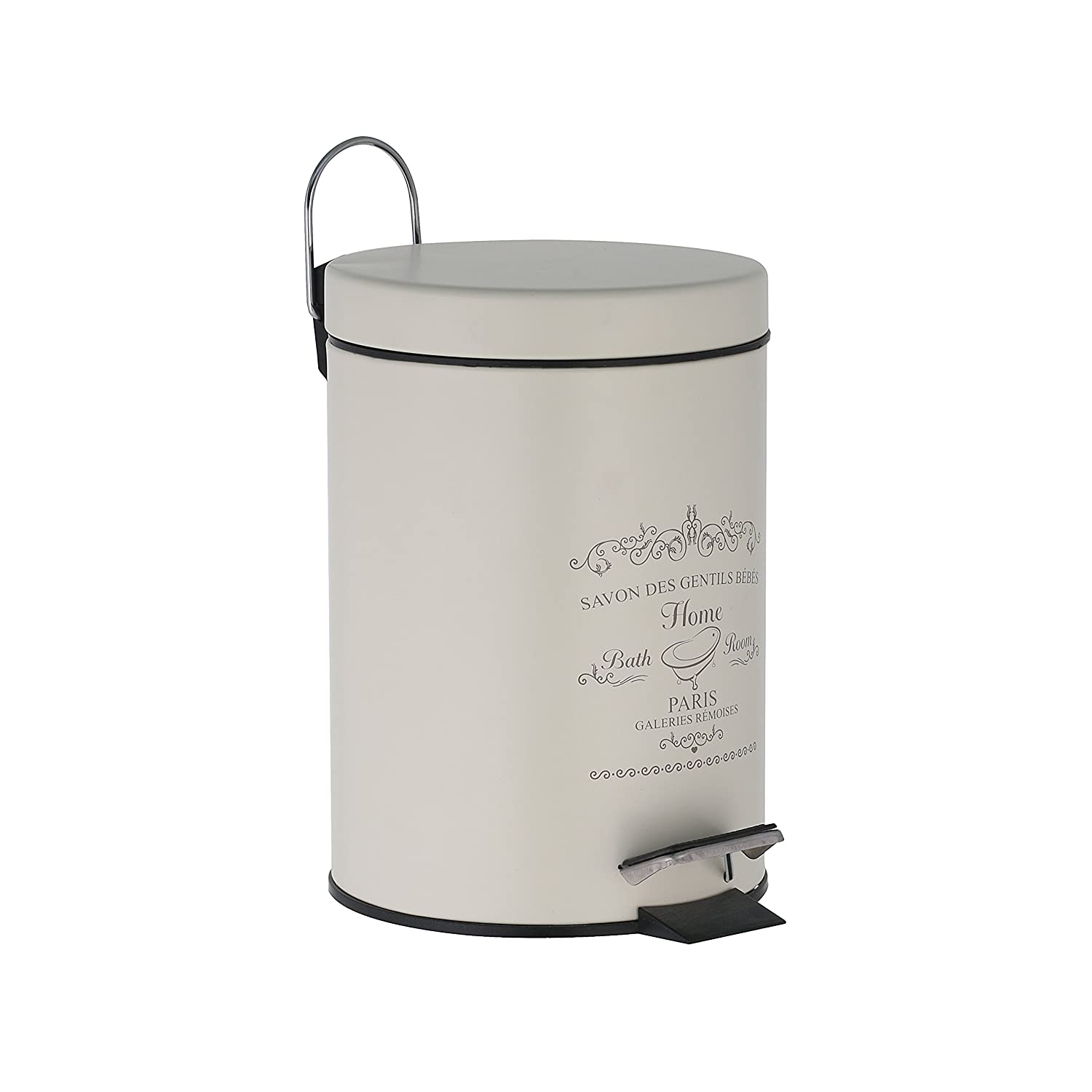 "Axentia Cosmetic Bin ""Paris"", Dustbin Stainless Steel as Bathroom Accessory, Waste Bin with 3 Litres Volume, Pedal-Bin For Bathroom, Approx. Diameter 17 x 24.5 cm, Antique White 126794"