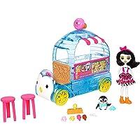 Enchantimals Coffret Camion de Glaces, Mini-poupée Preena Pingouin et Figurine Animale Jayla avec véhicule et accessoires, jouet enfant, FKY58