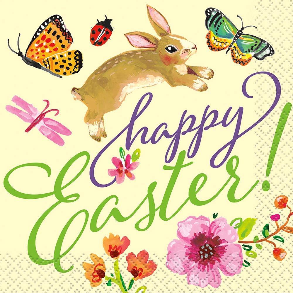Floral Easter Bunny Beverage Napkins 10