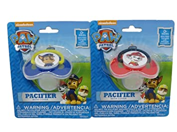 Paw Patrol Baby Pacifier with Cover - Bundle of 2 - One Marshall and One Chase Pacifier