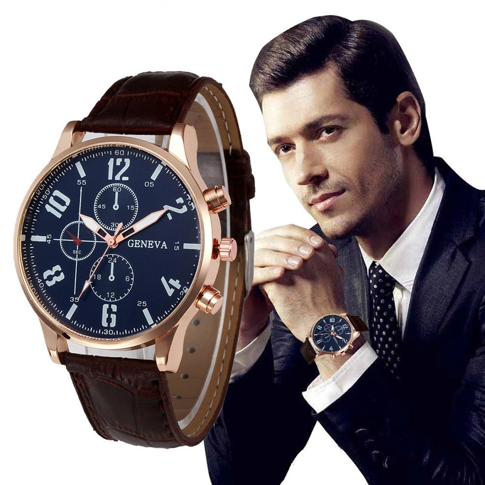 ... Business Watches with Silver Stainless Steel Case Leather Strap Under 10 Analog Quartz Wrist Simple Watches Black Face Relojes De Hombre Birthday Gifts ...