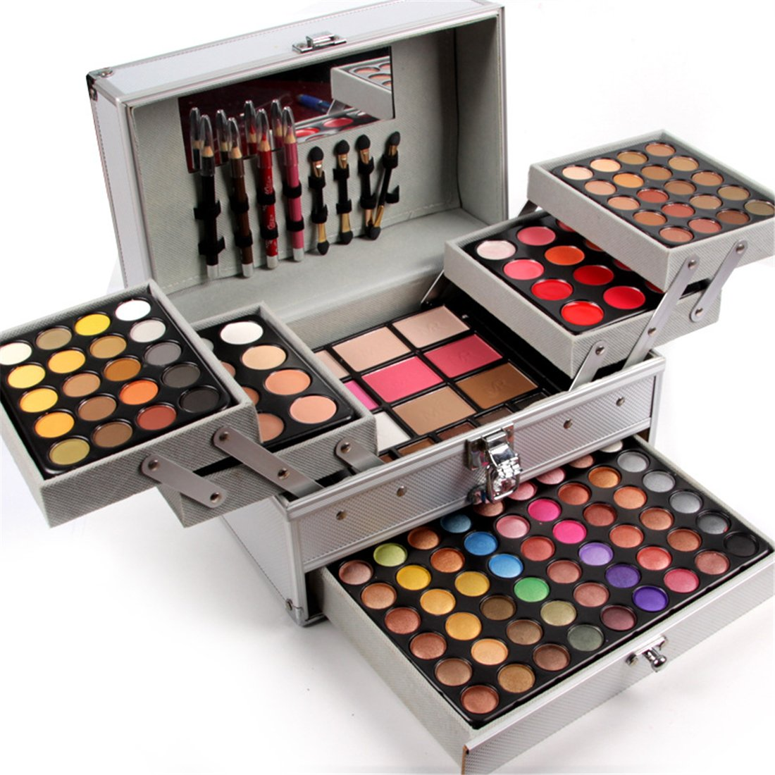 Pure Vie Professional 132 Colors Eyeshadow Concealer Blush Eyebrow Powder Palette Makeup Contouring Kit with Aluminum Case - Makeup Gift Set All In One Makeup Kit