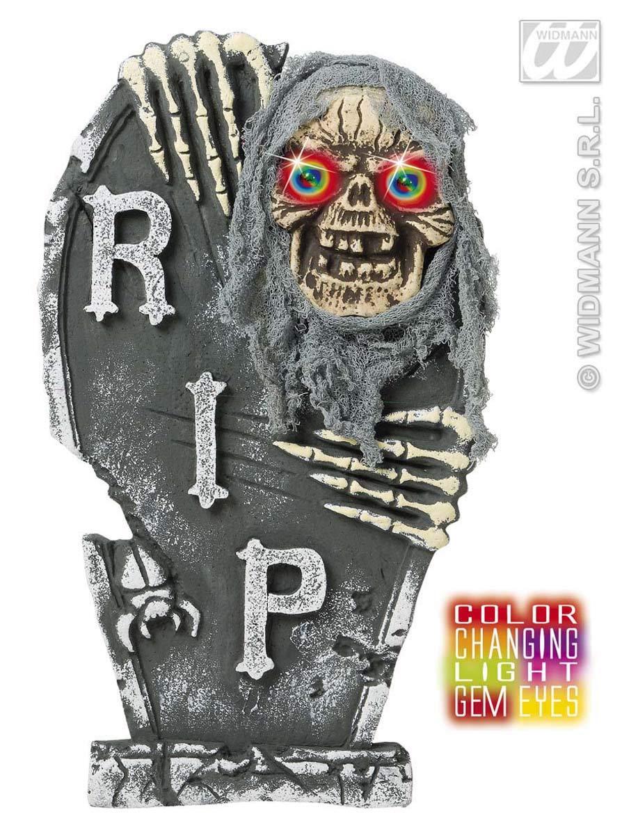unisex-adult 60 cm Widmann 7775S Grabstein mit Zombie Skelett