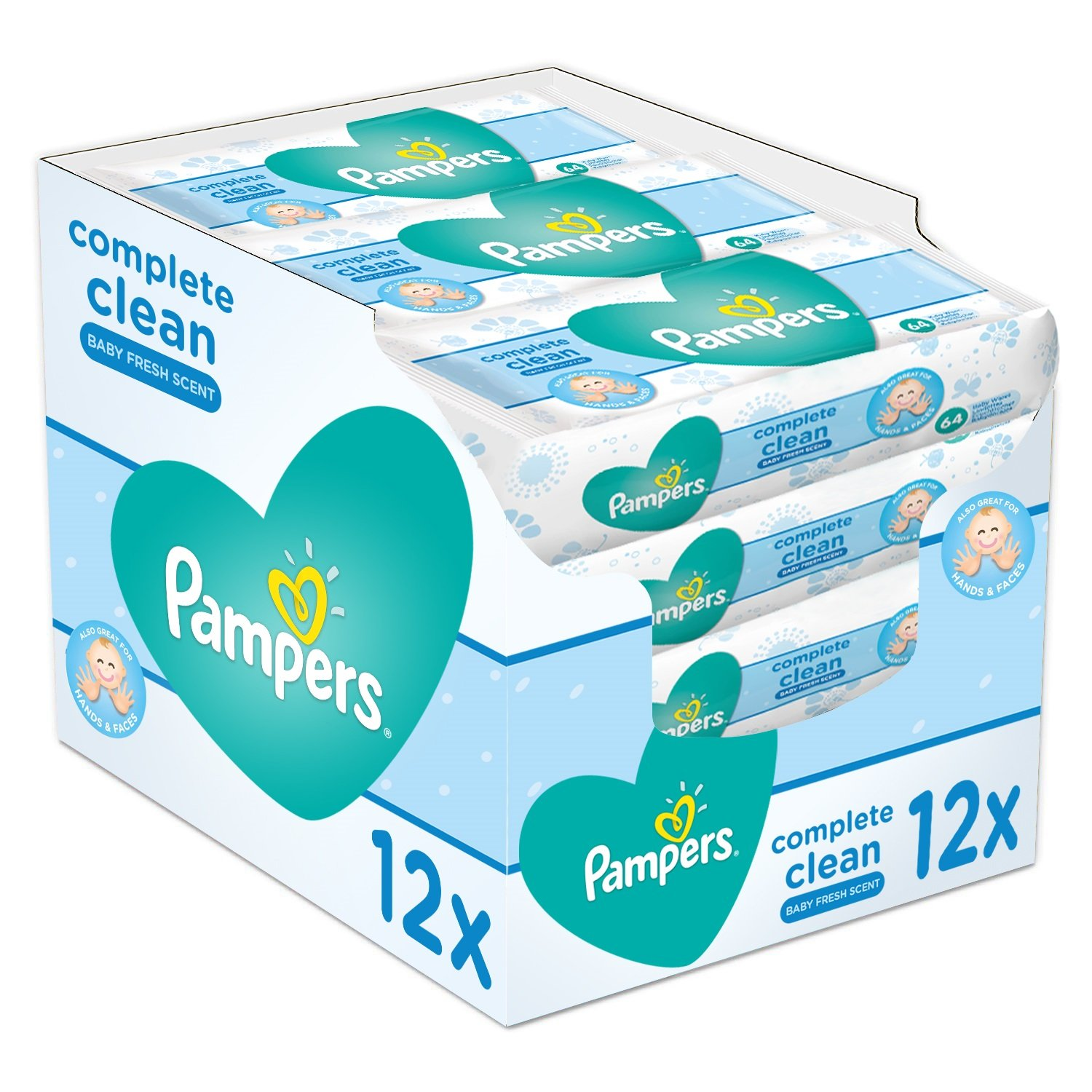 Pampers Complete Clean Baby Wipes, Baby Fresh Scent, 64 Wipes x 12 Procter & Gamble 81441962