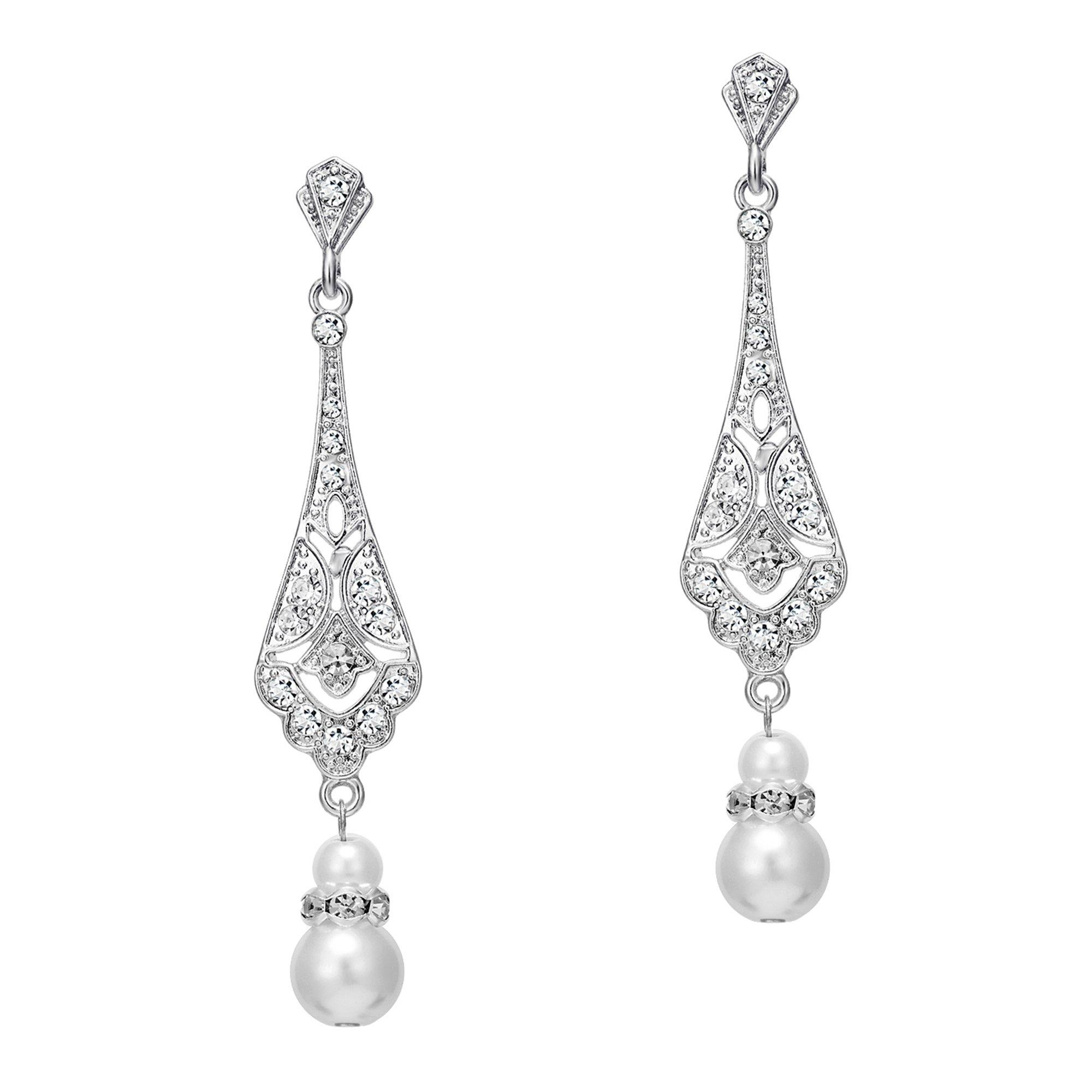 BABEYOND 1920s Vintage Wedding Pearl Dangle Drop Earrings Art Deco Gatsby Earrings (Style 5-Silver)