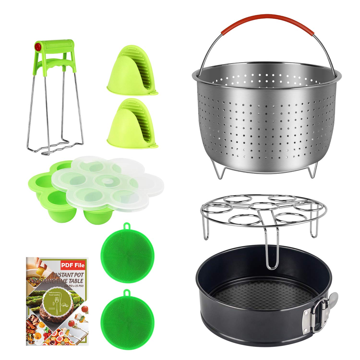 9 Piece Accessories Kits Compatible with Instant Pot 6, 8 Qt - Large Stainless Steel Steamer Basket, Non-Stick Springform Pan, Egg Rack, Egg Bites Mold, Oven Mitts, Bowl Clip and Silicone Scrub Pad