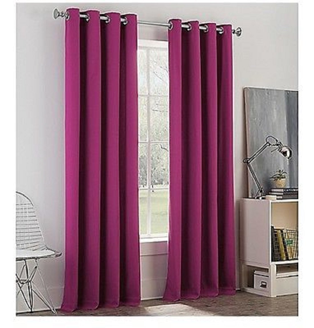 Newport College Cotton Grommet Window Curtain Panel Purple 50''x 84'' Length by Newport College (Image #1)