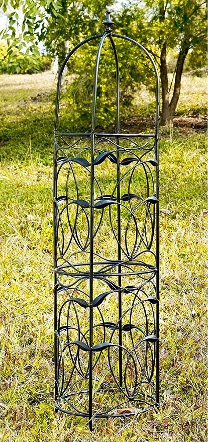 Obelisk Trellis Garden Outdoor Metal Black Tower 54 Height W Decorative Finial Vine Details Amazon Co Uk Garden Outdoors