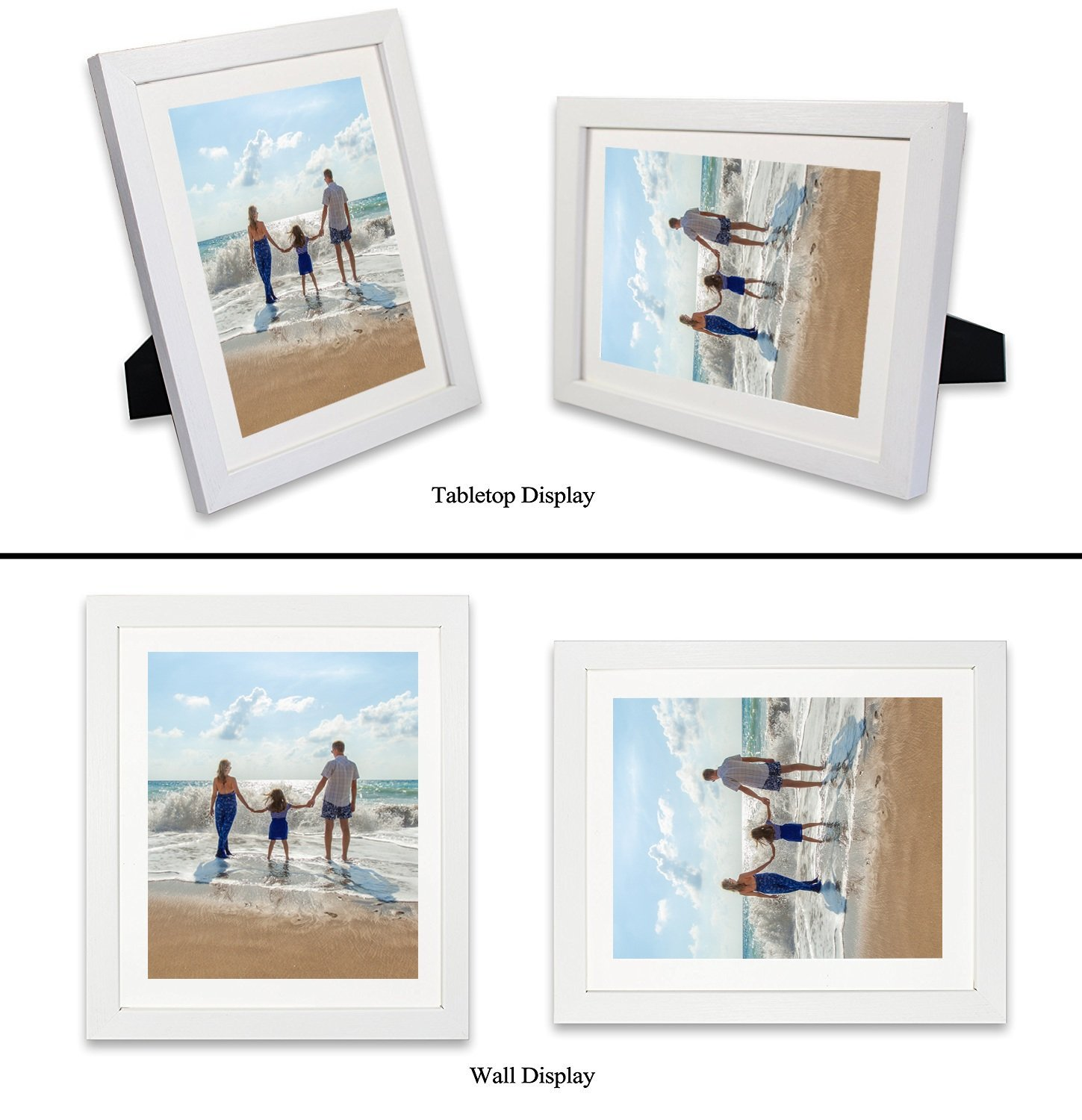 Amoy Art 8 x 10 White Picture Frame Made to Display Pictures Photo Frame 6x8 with Mat or 8x10 Without Mat Plexiglass Cover 3 Pack/Set for Wall & Tabletop