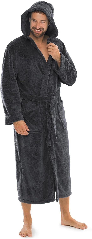 aqua-textil Malibu Accappatoio con Cappuccio A Tinta Unita Lungo Tasche Applicate Donna Uomo Unisex Microfibra Pile di Corallo XS-XXXL