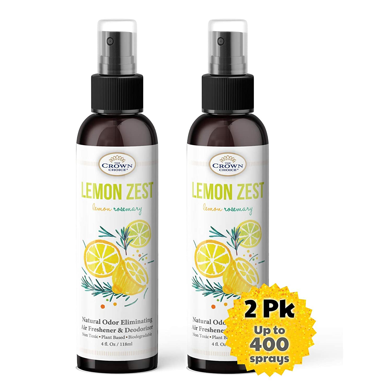 Natural Room Spray Mist Eliminates Odors (Lemon Zest 2PK) | Alcohol Free Soothing Aromatherapy Mist | Natural Room and Body Mist, Pillow and Linen Mist, Essential Oil Spray
