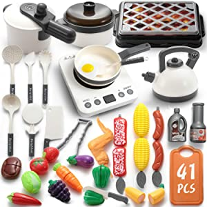 WADILE 41PCS Kitchen Play Toy with Barbecue Cookware Toy Set Pressure Cooker and Electronic Induction Stovetop, Barbecue Cookware, Toy Tableware, Cutting Toys, Gifts for Girls and Boys