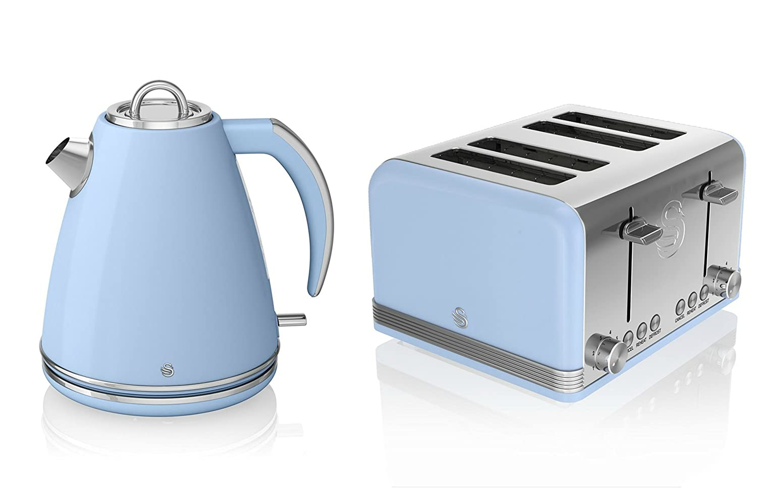 Swan Kitchen Appliance Retro Set - Blue 1.5 Litre Jug Kettle & Blue Modern 4 Slice Toaster Set