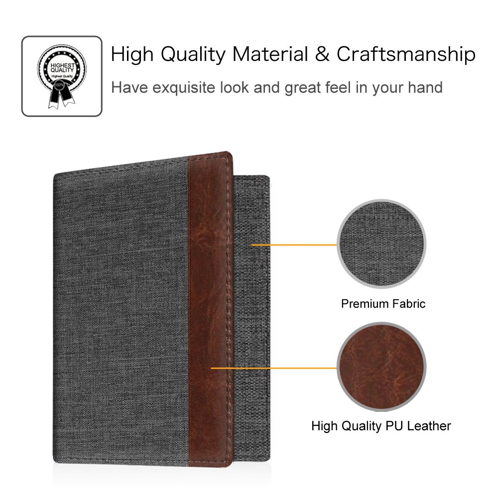 Fintie Passport Holder Travel Wallet - Premuim Fabric with Vegan Leather RFID Blocking Case Cover - Securely Holds Passport, Business Cards, Credit Cards, Boarding Passes, Denim Charcoal/Brown by Fintie (Image #4)