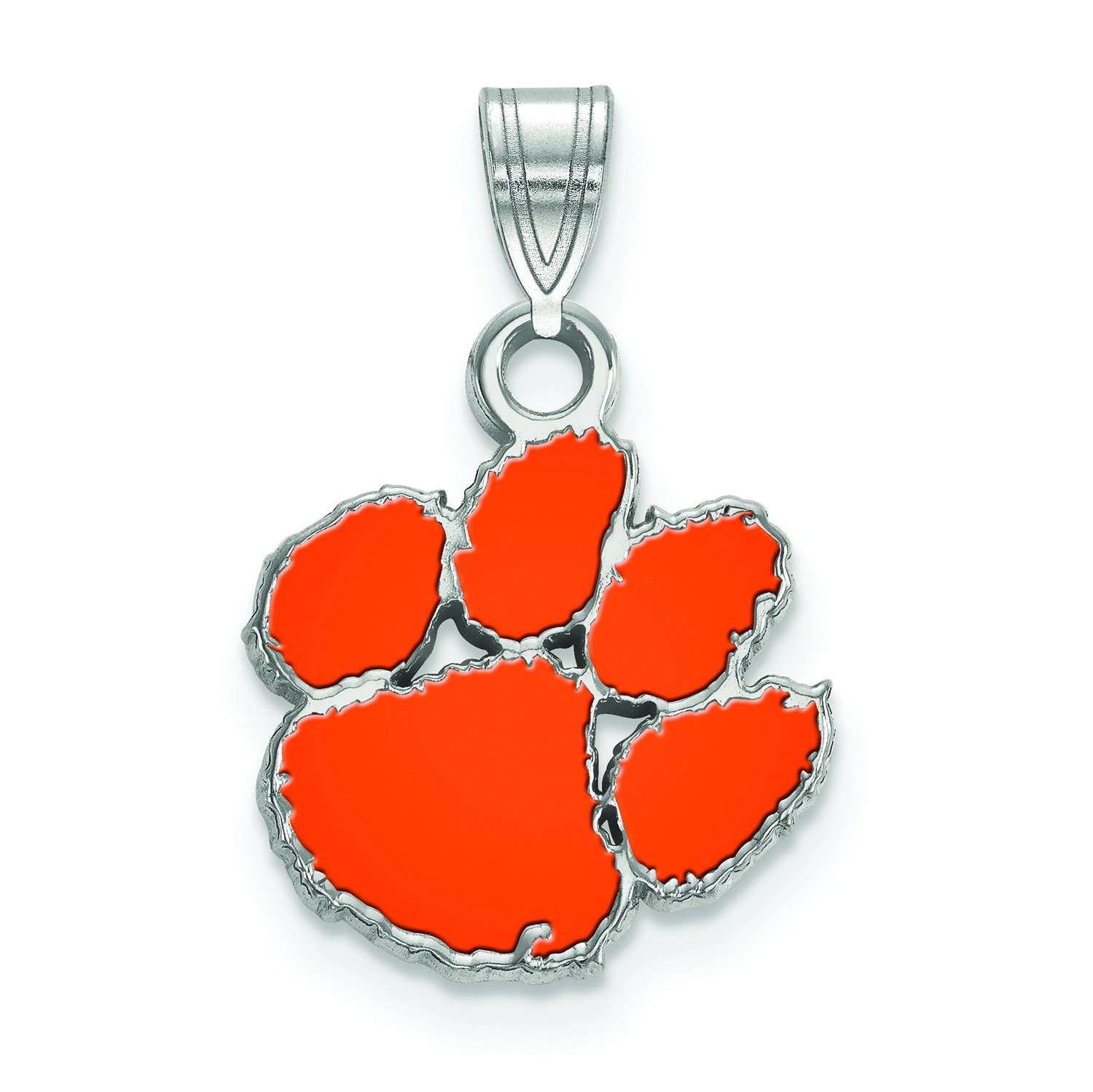 Clemson Small (1/2 Inch) Enamel Pendant (Sterling Silver)