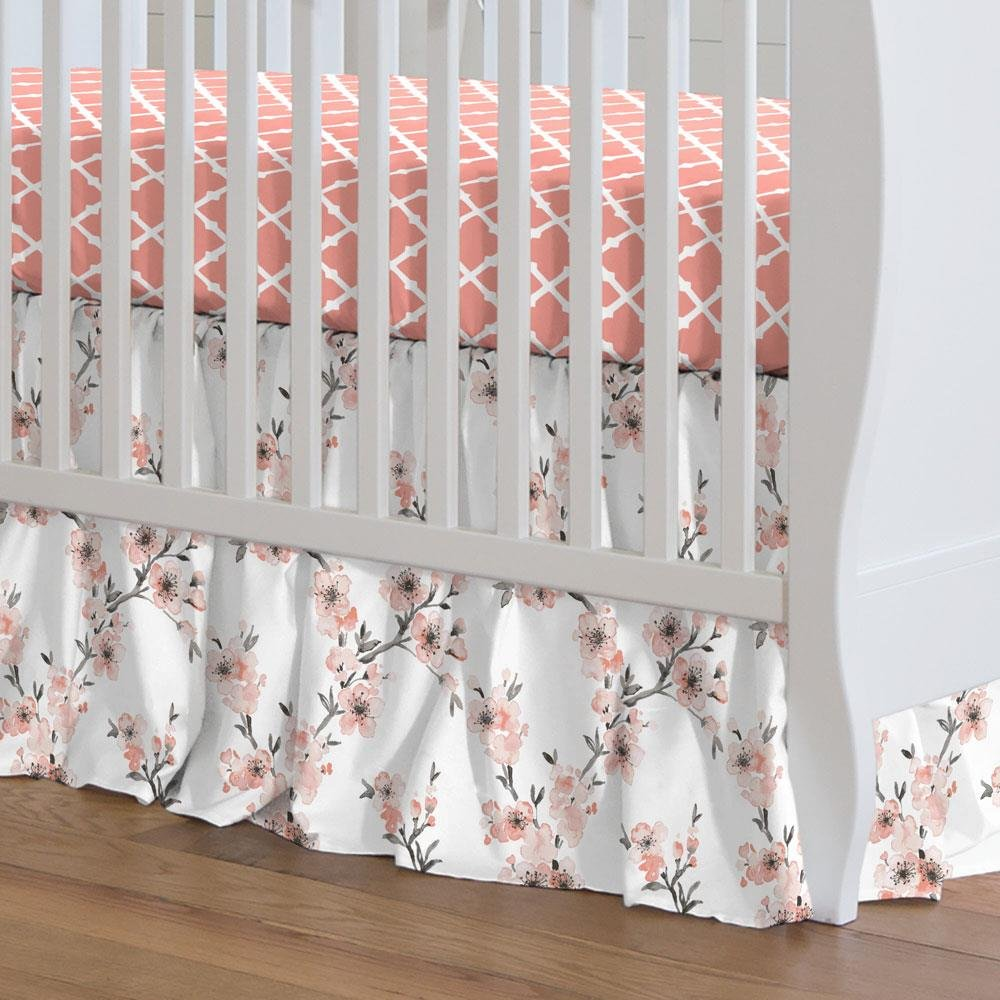 Carousel Designs Light Coral Cherry Blossom Crib Skirt Gathered 20-Inch Length