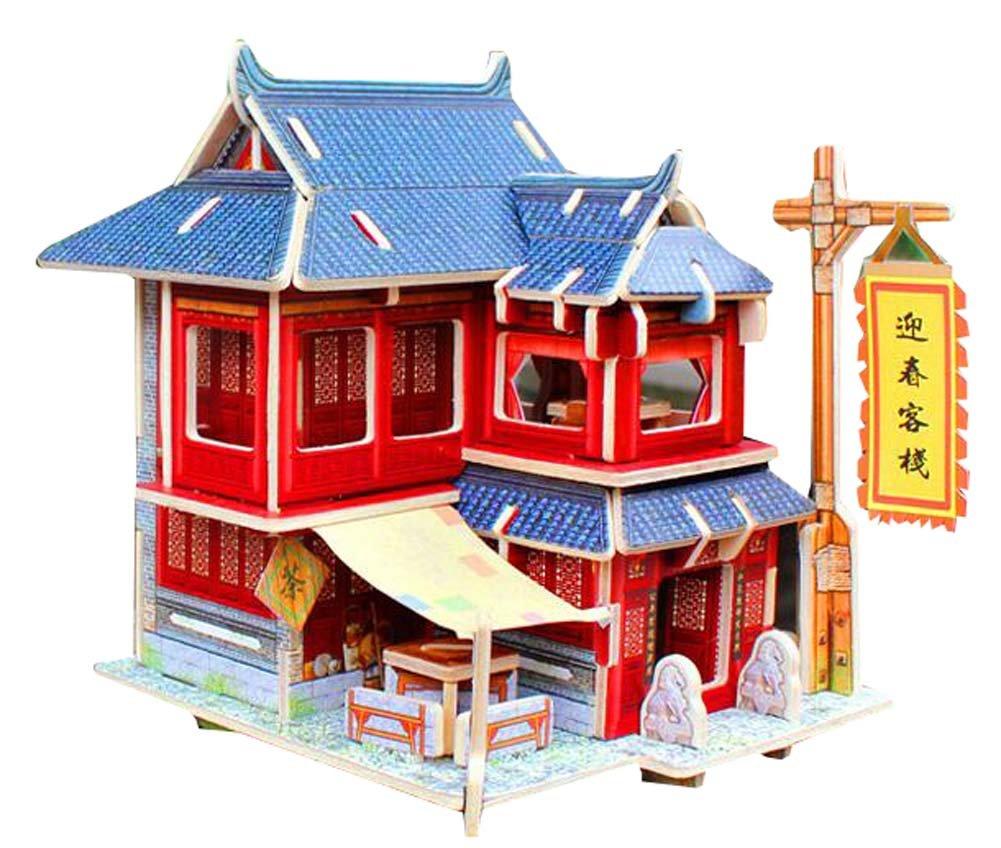 Blancho Bedding [China Inn] Puzzle 3D Modelo de Papel Montado Cabina Casa de Juguete DIY