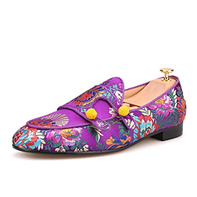 38210ae9cbdb9 HI&HANN Men Silk Shoes Chinese Style Flower Men's Loafers Wedding and Party  Smoking Slippers-6