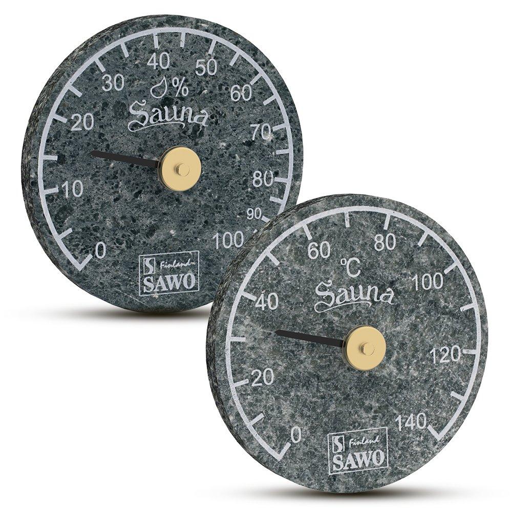 SAWO Round Sauna Soapstone Thermometer 290-T and Hygrometer 290-H (Ø )100 mm