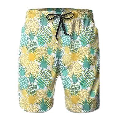 28d63dd3cf QD6L54OU Summer Pineapples Mens Elastic Waist Beach Board Shorts for ...