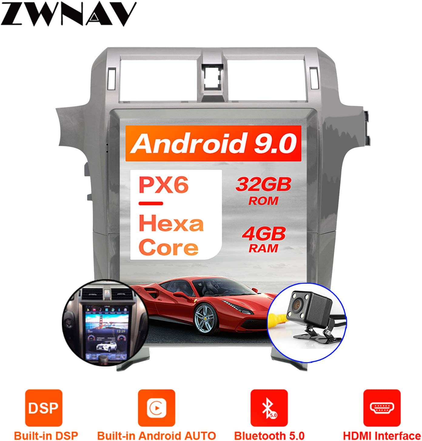 ZWNAV One din Android 9.0 Tesla Android Car Stereo for Lexus GX400 GX460 2010-2016, Car GPS Navigation Head Unit, in-Dash DSP, HDMI Output, Support Carplay, Android Auto, Bluetooth, WiFi, Fast Boot