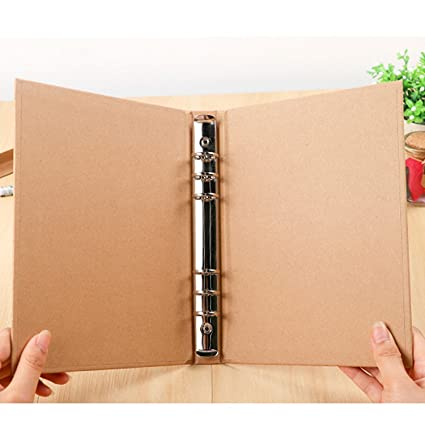 Amazon.com : A5 Size Kraft Paper 6-Hole Ring Binder Folder ...