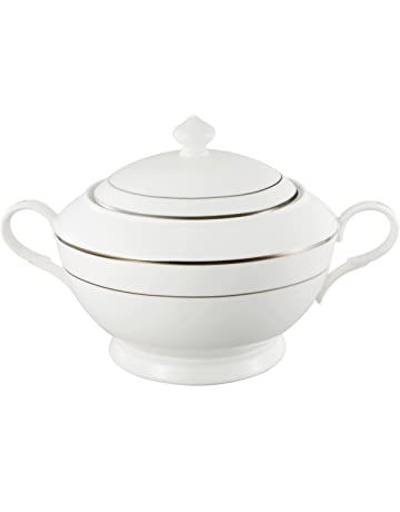 Lorren Home Trends la luna Collection Bone China Plata Diseño Fuente sopera con tapa
