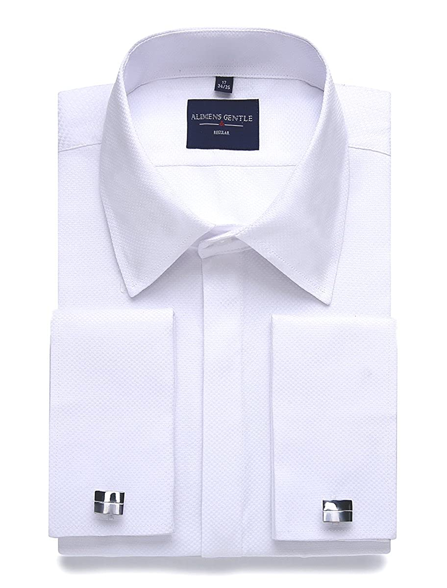 de510234e789f Alimens & Gentle Men's Dress Shirts French Cuff Long Sleeve Regular Fit  (Include Metal Cufflinks and Metal Collar Stays)