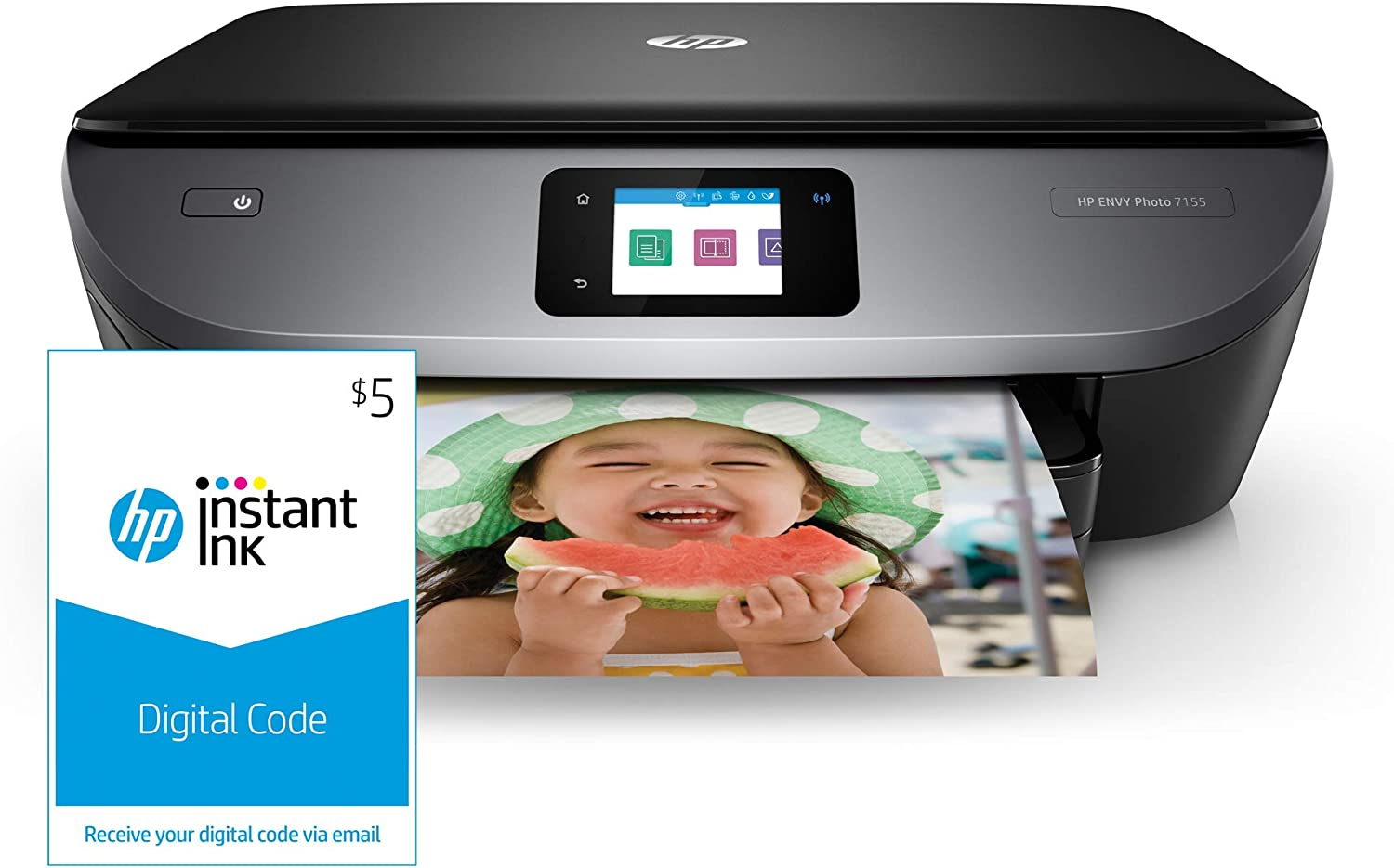 HP ENVY Photo 7155 All in One Photo Printer with Wireless Printing, HP Instant Ink & Amazon Dash Replenishment ready (K7G93A) and Instant Ink $5 Prepaid Code