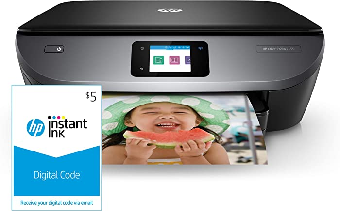 HP ENVY Photo 7155 All in One Photo Printer with Wireless Printing, HP Instant Ink & Amazon Dash Replenishment ready (K7G93A) and Instant Ink  Prepaid Code