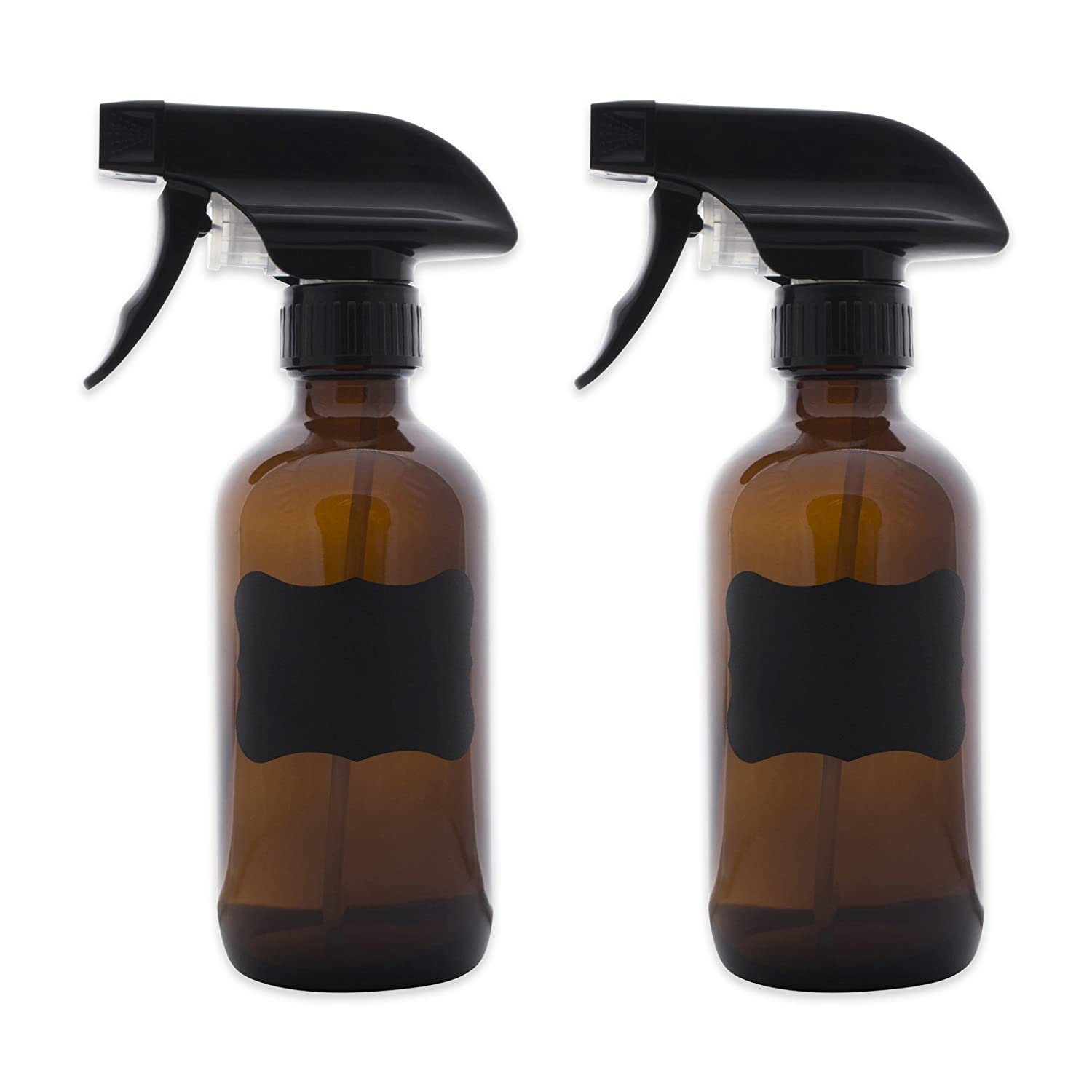 8c54e7f41126 DII Set of 2 Amber Glass Spray Bottles for 8oz of Liquids with Chalkboard  Labels for Cleaners, Essential Oils, Beauty Products, Aromatherapy