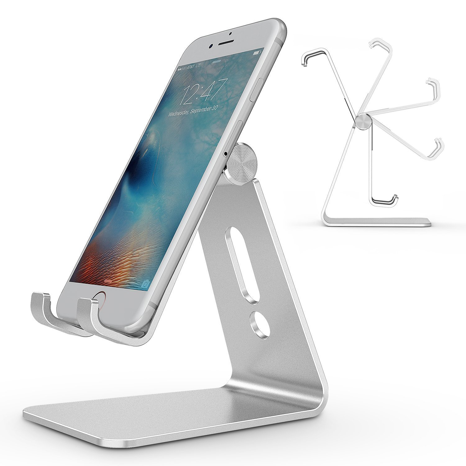 Adjustable Cell Phone Stand, OMOTON Aluminum Desktop Cellphone Stand with Anti-Slip Base and Convenient Charging Port, Fits All Smart Phones, Silver by OMOTON