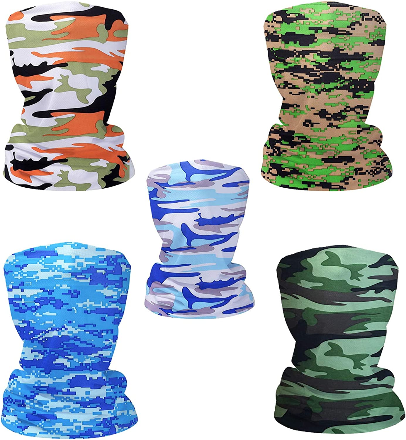 Fashion Face Dust Mask (5 PCS) Bandanas Sports & Casual Headwear Seamless Neck Gaiter, Headwrap, Balaclava, Helmet Liner