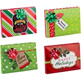 Pack of 4 Christmas Gift Card Holder Box with Decorative Bow for Small Gifts or Gift Cards