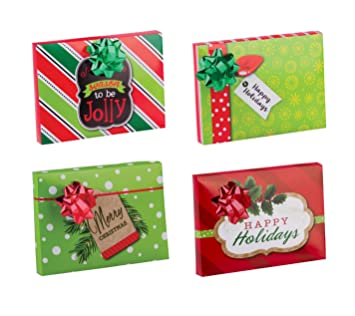 Amazon Com Pack Of 4 Christmas Gift Card Holder Box With Decorative