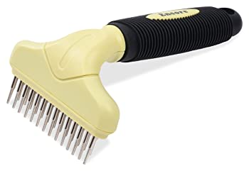 Fur-Tastic Double Row Undercoat Rake For Dogs, Long-Haired Dog Rake, Undercoat Rake For Dogs & Cats With Heavy Coat, Pet Brush To Reduce Shedding, Professional Quality Pet Grooming Brush